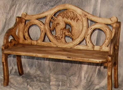 hand carved pine - mare and colt bench