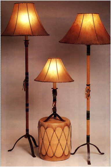 Beaded Leather Lamps