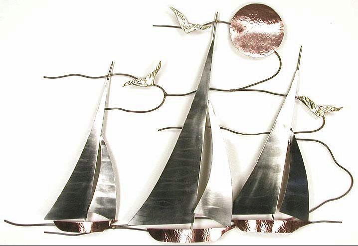 Bns07 Sailboat Regata Wall Hanging Metal Art Nature Gl Figures Maritime Representation Of Sailboats Enameled Contemporary Br