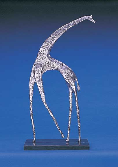 2001_WB Standing Giraffe Table Top Metal Art, 2001 Abstract Animal Figures,  Representation Of Modern Contemporary Brass Bronze Copper Sculptures