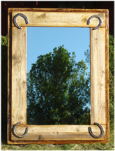American Made Western And Southwestern Handpainted Pine Mirrors
