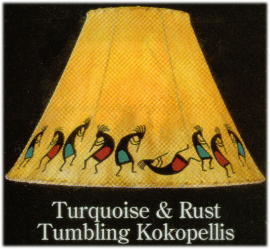 Hand painted limited edition lamp shades turquoise rust tumbling hand painted limited edition lamp shades turquoise rust tumbling kokopellis native american indian artifacts aloadofball Image collections